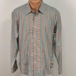Robert Graham Embroidered Striped Button Up Shirt